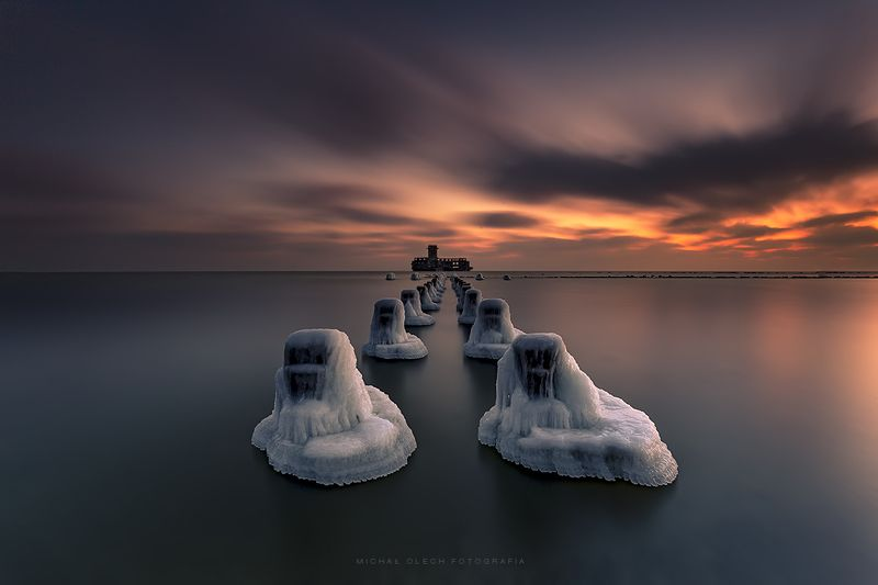 Baltic Sea coast, Poland, long exposure, clouds, reflection, sea, sunset, sunrise, dawn, dusk, ice, snow, балтийское море, польша, закат Ice spiritsphoto preview