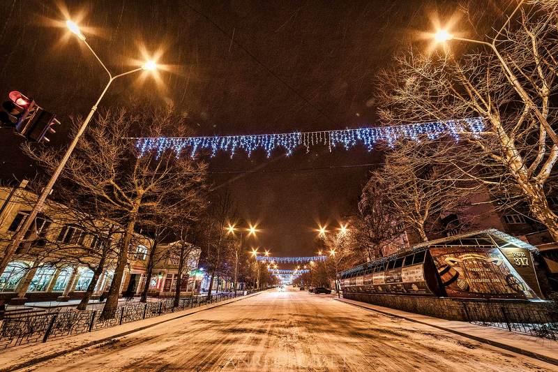 город, ночь, огни, зима, снег.  Огни ночного города.photo preview