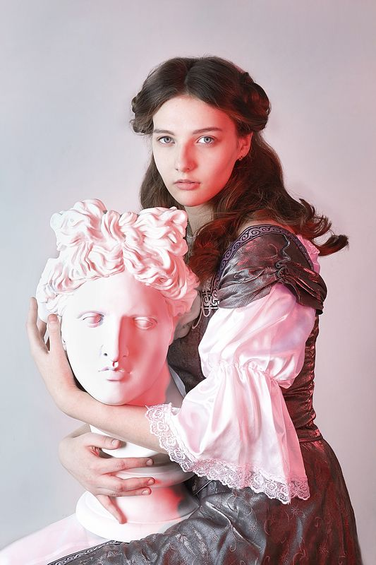 girl, renaissance, painting, sculpture, curly, hair  Puella photo preview