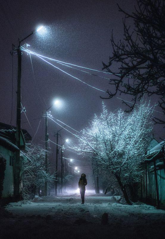 зима, ночь, снег, улица, лампа, street, night, winter, snowfall ***photo preview