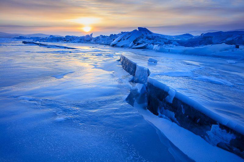 байкал, сибирь, зима, лед, лёд, россия, ольхон Закат на Байкалеphoto preview