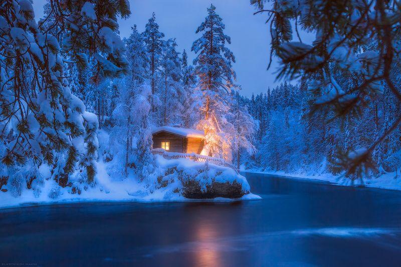 финляндия, лапландия, снег, ночь, река, лес, холмы, зима, новый, год, сказка, свет, light, snow, wind, travel, lapland, finland Тишинаphoto preview