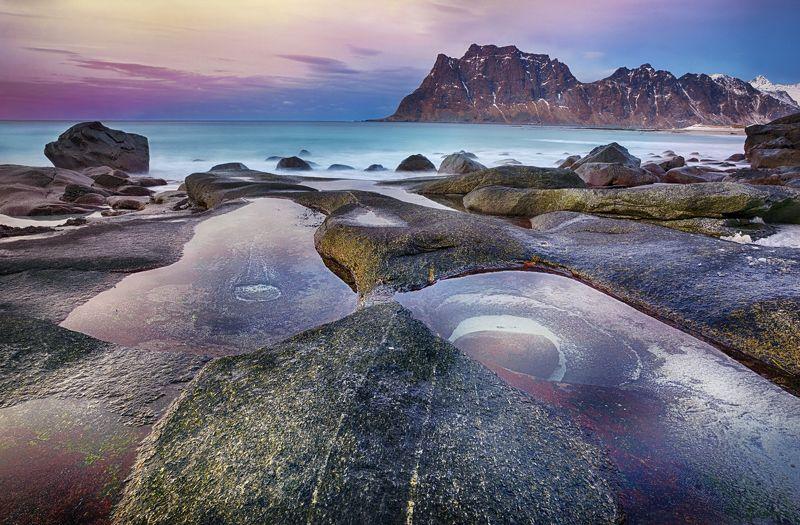 пейзаж, пляж, море, лофотены, норвегия, природа Utakleivphoto preview