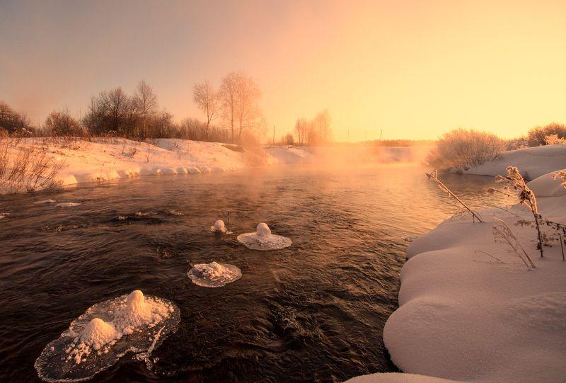 рассвет, природа, солнце, вятка, река Золотой рассветphoto preview