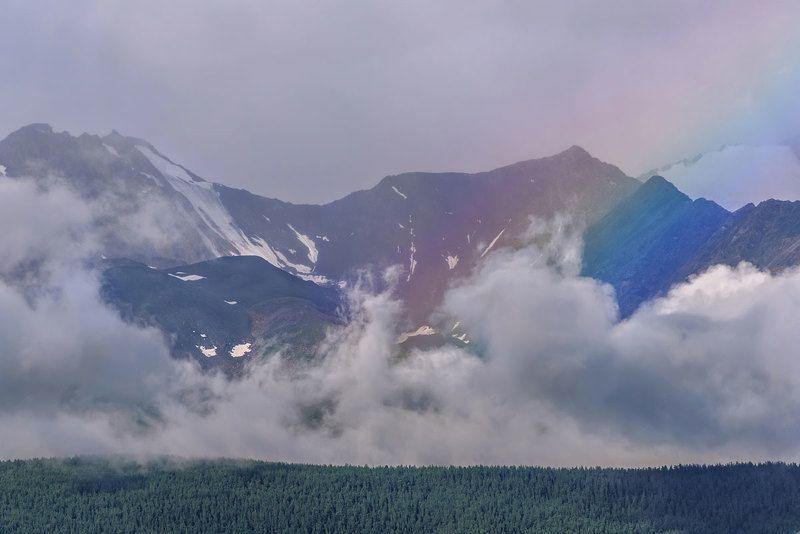 радуга, горы, облака, лето, небо, алтай, rainbow, mountains, clouds, summer, sky, altai Радука в облакахphoto preview
