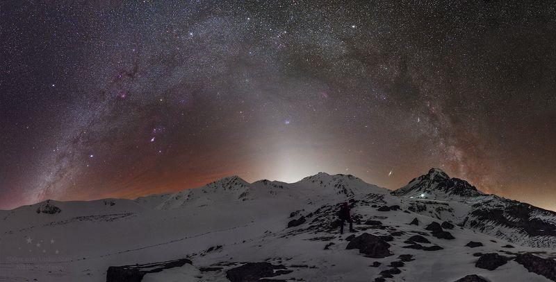 млечный путь, зодиакальный свет, airglow, звезды, ночь, астрофото, ночное фото, ночной пейзаж, Казбек, Казбеги. кавказ, горы \