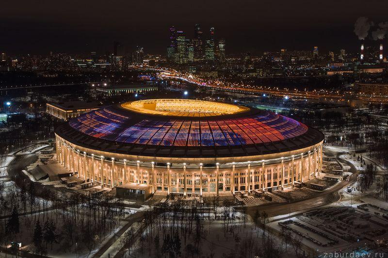 россия, москва, город, архитектура, зима, стадион, спорт Лужникиphoto preview