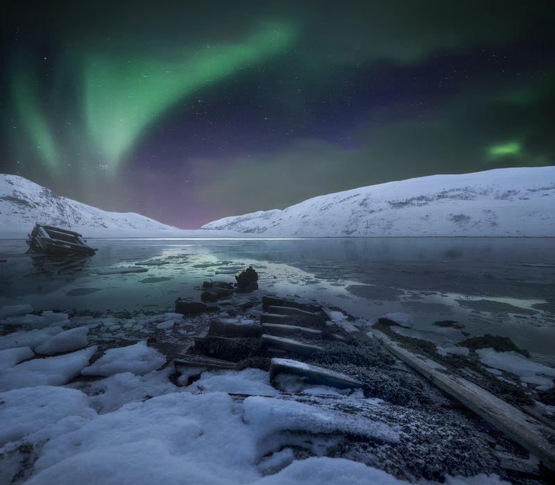 северное сияние, Териберка, Кольский Север, Aurora Borealis Как-то ночьюphoto preview
