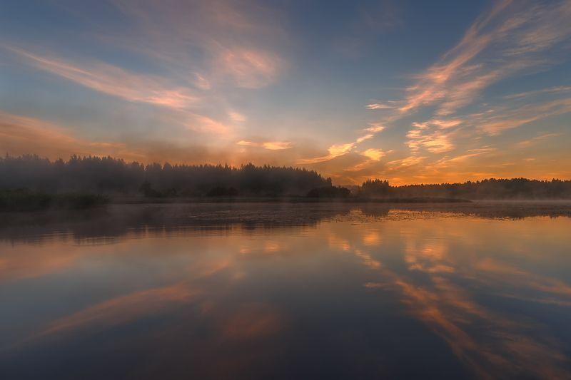 рассвет природа пейзаж солнце река отражение пар Дыхание утра.photo preview