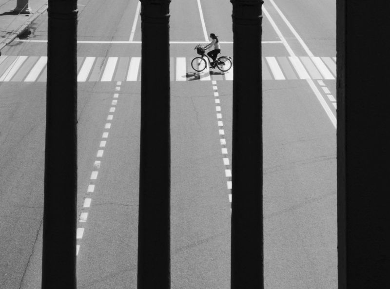 Moscow, Russia, Black and white, Monochrome, Street, Girl, Rhythm  Parallel linesphoto preview