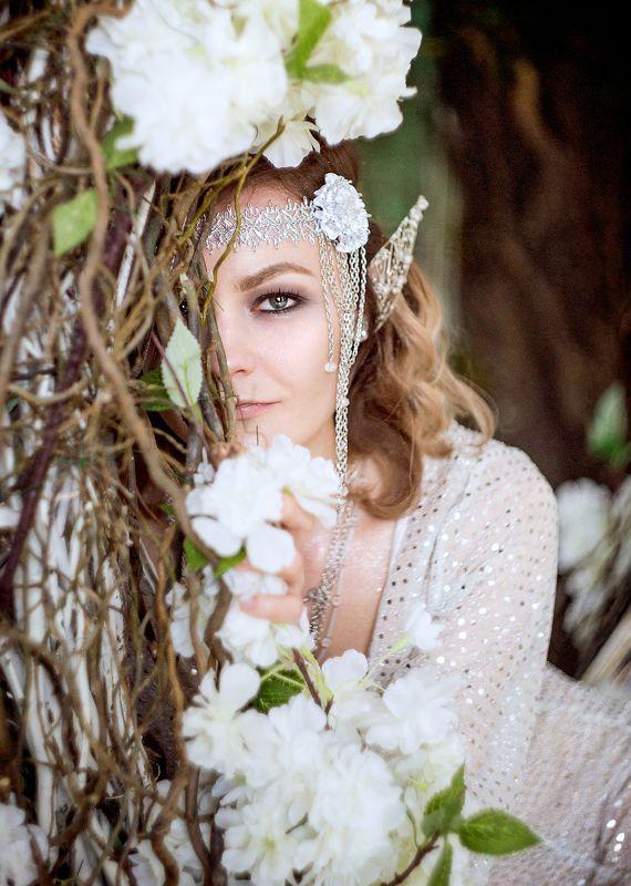 elf, girl, ear, эльф, девушка, гламур, белый, серебро, цветы elfphoto preview