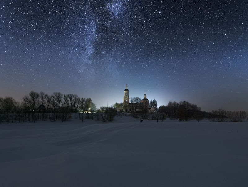 ночь, звезды, млечный путь, снег, мороз, село, Зимняя ночь.photo preview
