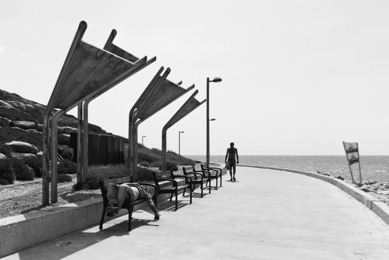 Midday, Street, Black and white, Israel, Jaffa, Lazy, Tel-Aviv, Monochrome Midday in Jaffaphoto preview