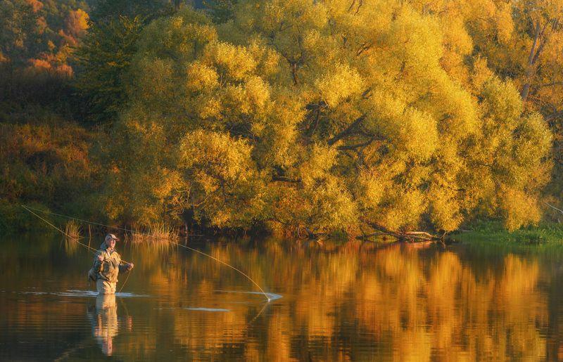 осень, рыбалка, свет, деревья, листья, речка Осенняя рыбалкаphoto preview