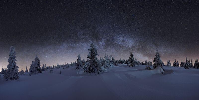 panorama, milkyway, stars, frozen, blue, galaxy, landscape, night Blue frosts guardphoto preview