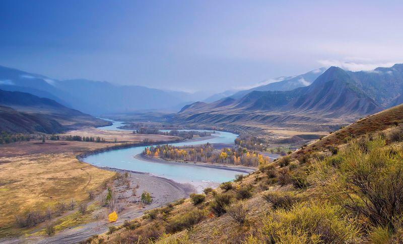 алтай, река, катунь, инегень, свет, , горы Уходящая в дальphoto preview