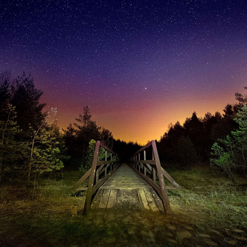 #stars#night#silent#bridge#wood#natural Soltykow by nightphoto preview