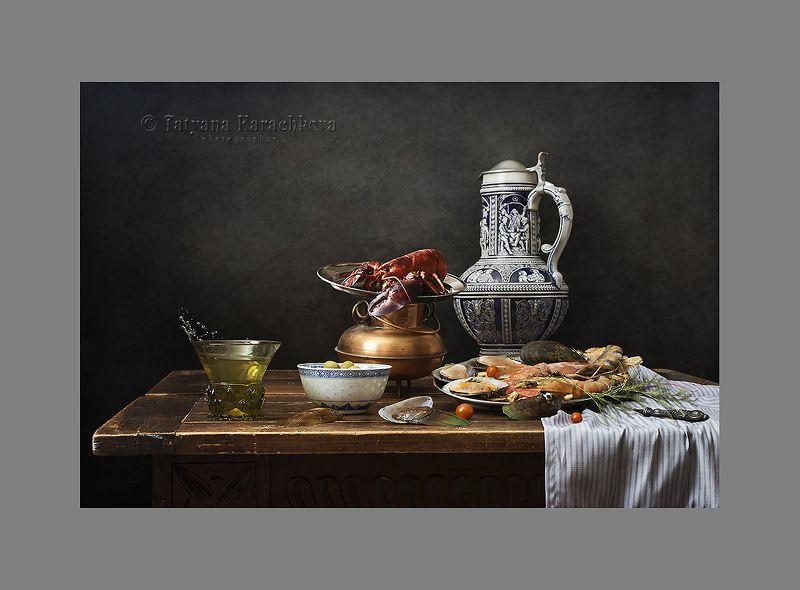 натюрморт, лобстер, креветки, вино, риман, баварский кувшин, подсвечник, трубка, оливки Зарисовки с морепродуктами в старинном духеphoto preview