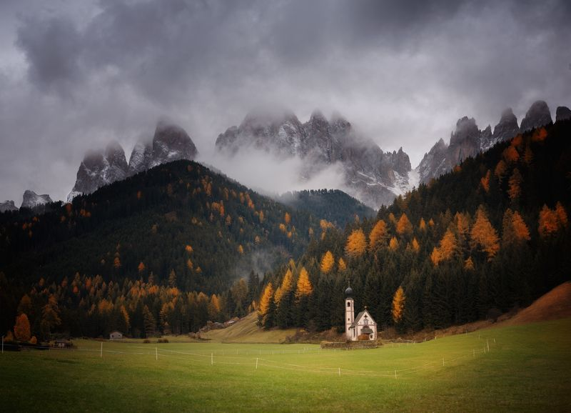 Santa Maddalena, Dolomites, Italy, church Santa Maddalena, Val di Funes, Dolomites, Italyphoto preview