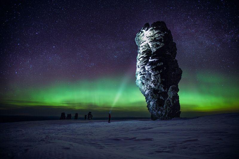 Маньпупунёр, Северный Урал, северное сияние, млечный путь, манси, Коми, снег, зима Aurora Borealisphoto preview