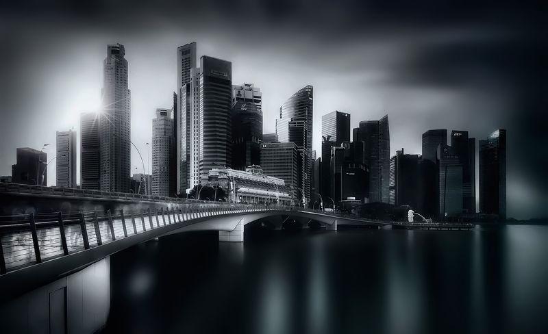 город, архитектура, закат, чб, мост, длинная выдержка Немойphoto preview