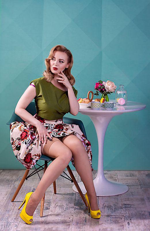 пинап, pinup, завтрак, пончик, женский портрет Pin-Up завтракphoto preview