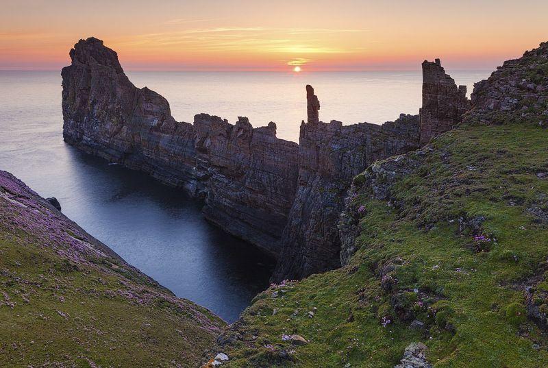 ирландия, морской пейзаж, пейзаж, рассвет, остров, океан, ireland, seascape, sunrise Рассвет на острове Ториphoto preview