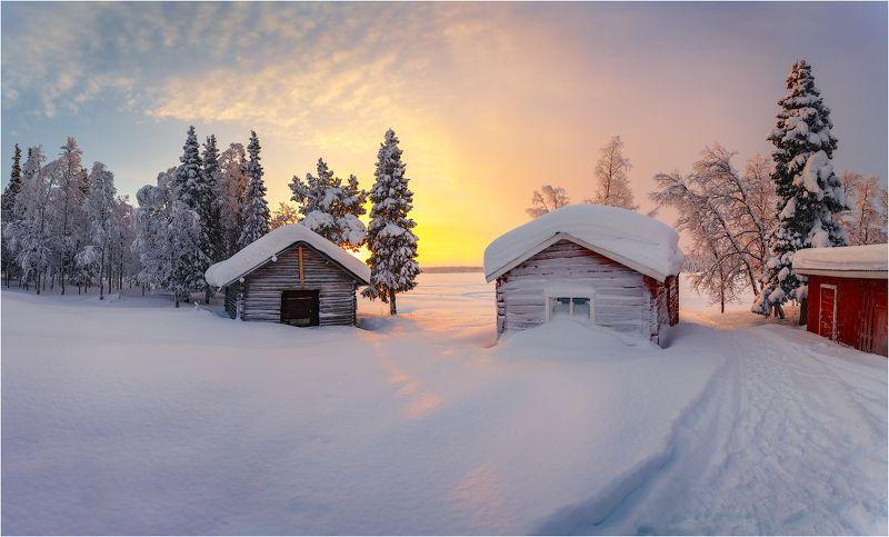 рассвет,утро,восход,домики,швеция,мороз,снег,краски,озеро,лёд Морозное утроphoto preview