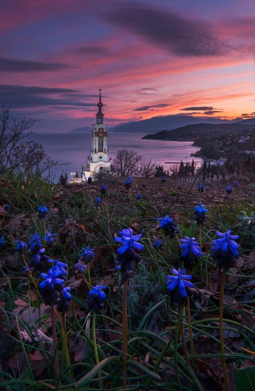 крым, море, черное море, закат, малореченское, храм-маяк, весна, весна в крыму, цветы крыма, закат, туры в крым, фототур, фототуры в крым Апрельский закат в Малореченскомphoto preview