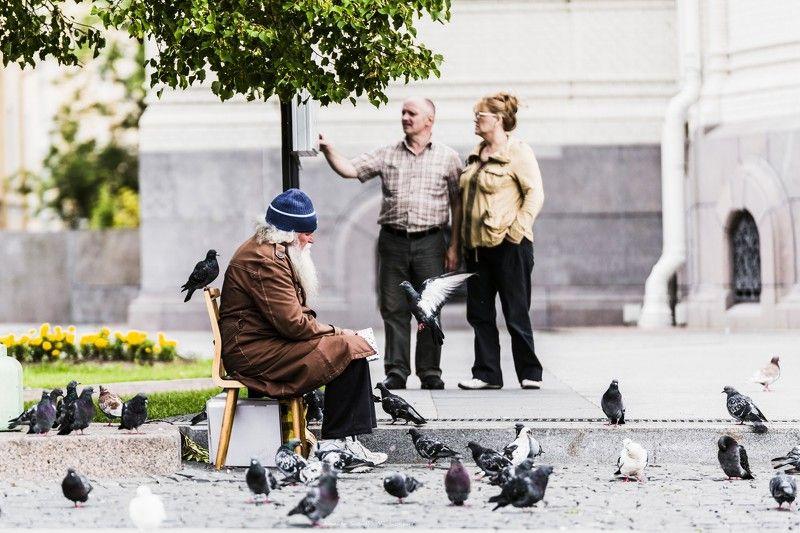 Люди, город, улица, жанр, человек,птицы, голуби,  ***photo preview