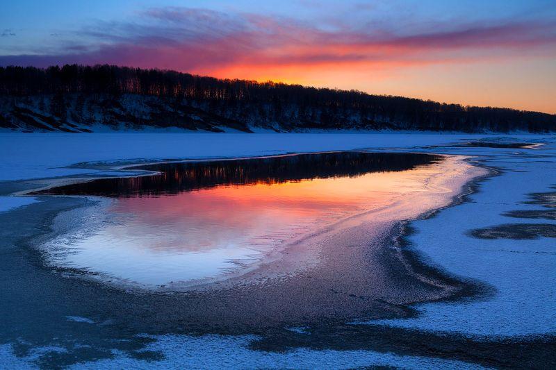 пейзаж, закат, река,весна. Весеннее зеркалоphoto preview