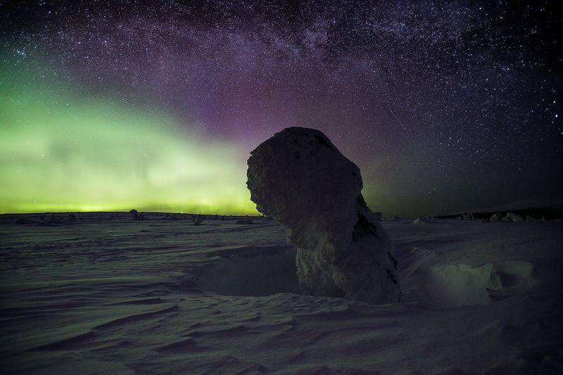 Маньпупунёр, звёзды, Урал, Коми, северное сияние, снег, зима Под звёздами северного Уралаphoto preview