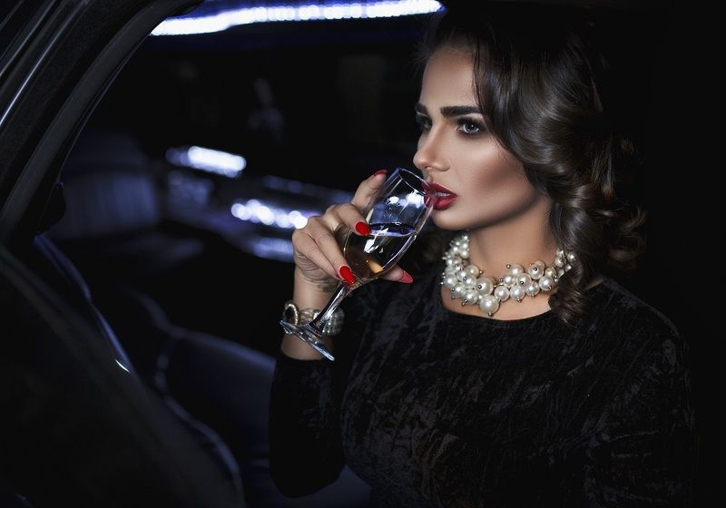 model brunette girl beatifull lady car night glamour ...photo preview