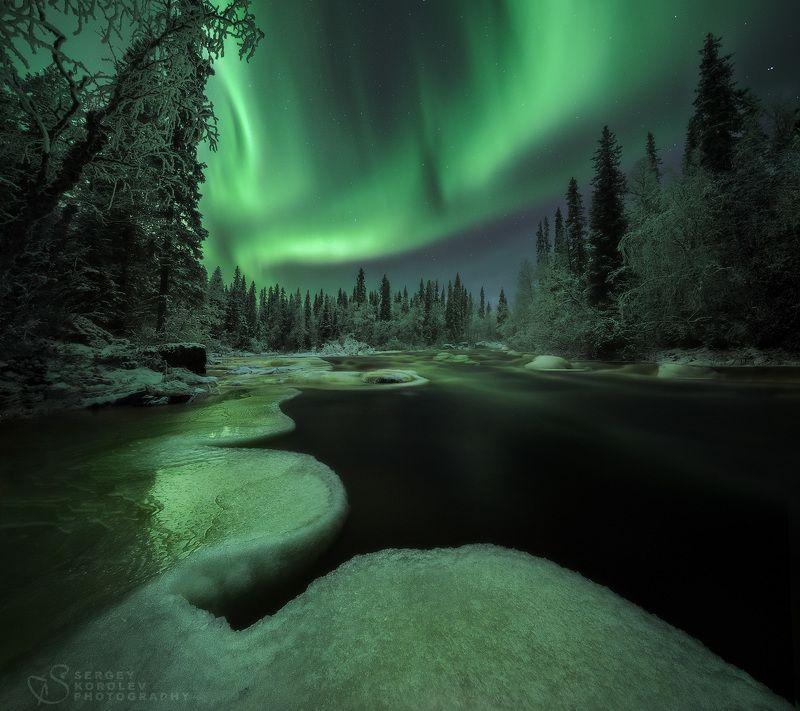 кольскийполуостров, северноесияние, aurora Изумрудные мгновенияphoto preview