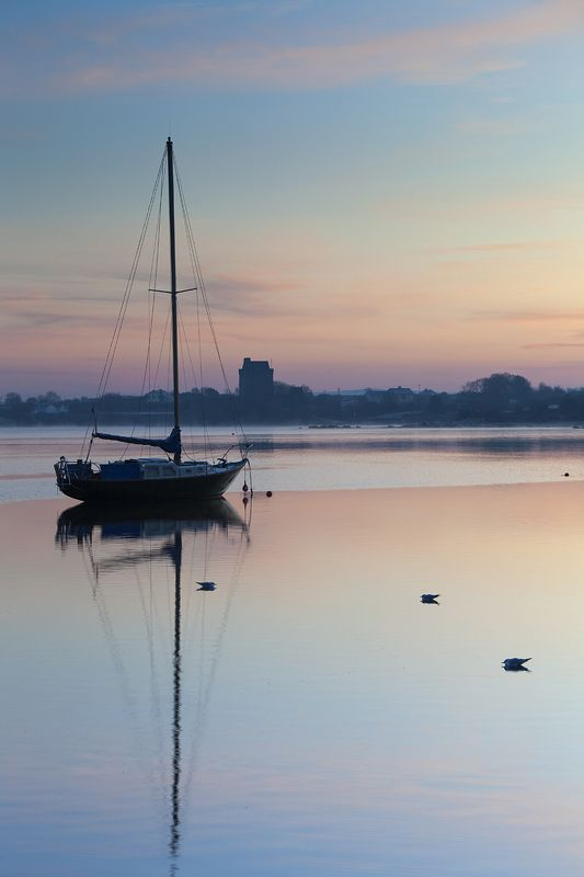 утро, пейзаж, залив, яхта, ирландия, рассвет, dawn, ireland, bay, yacht, sunrise photo preview