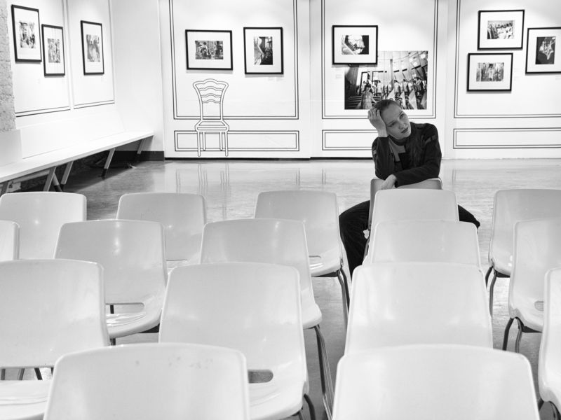 Girl, Moscow, Russia, Monochrome, Exibition, Black and white, Thinking Thoughtful mindphoto preview