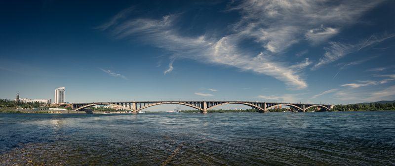 пейзаж, landscape, город, city, cityview, панорама, panorama, мост, bridge, river, река, enisey, енисей, krasnoyarsk, красноярск, sky, clouds, небо, облака, широкий, большой, wide, big Коммунальный мост Красноярска / Kommunalny Bridge in Krasnoyarskphoto preview