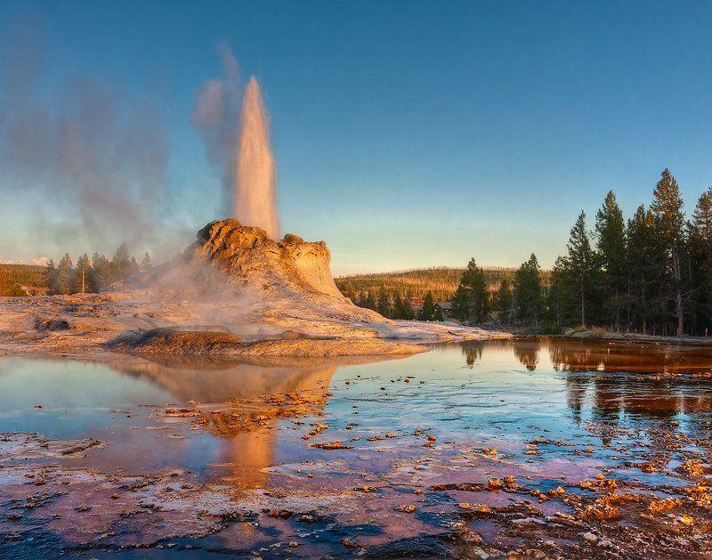 гейзер, фонтан, вода, пар, струя, пейзаж, йеллоустоун Горячее дыхание планетыphoto preview