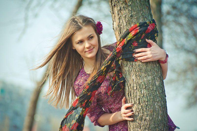 девушка, весна, солнце, небо, улыбка, spring Springphoto preview