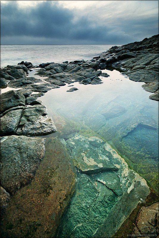 море, пейзаж, крым, закат, Пасмурное мореphoto preview