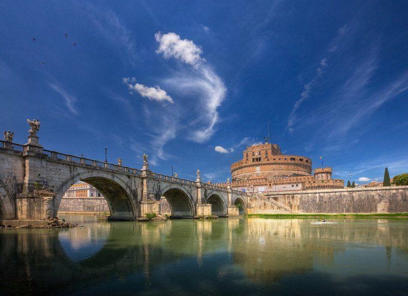 город, рим, река, небо, замок, мост ***photo preview