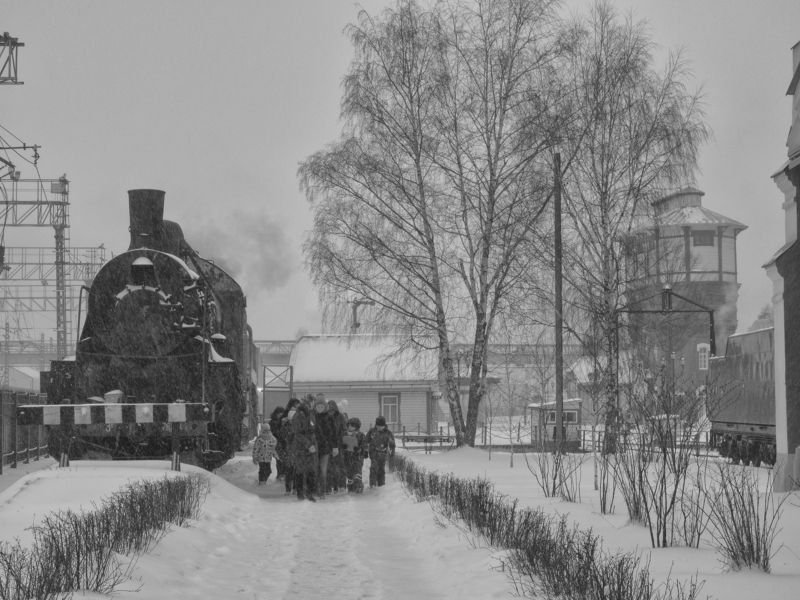 black and white, monochrome, moscow, winter, landscape, city, retro Travelling into the pastphoto preview