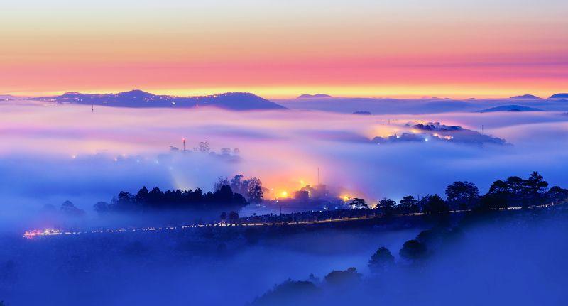 fog, road, vietnam, ray, sunrise Sunrise in Du Sinh hillphoto preview
