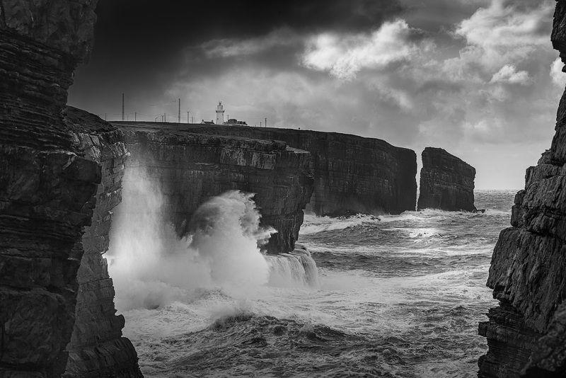 океан, черно-белое, ирландия, маяк, ireland, black and white, lighthouse, ocean photo preview