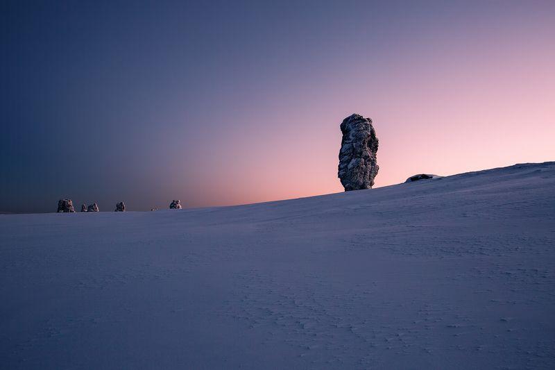 Маньпупунёр, север, Коми, Урал, горы, снег, зима Восход photo preview