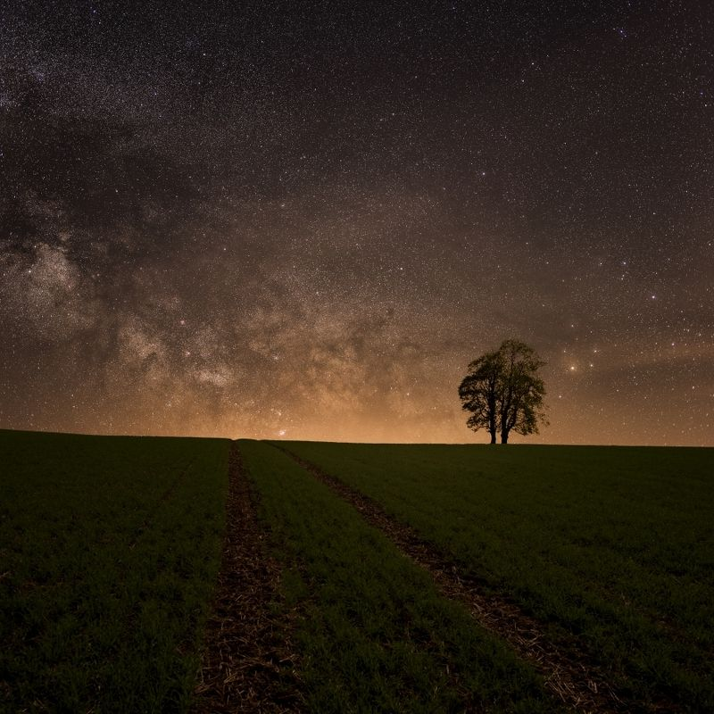 night, stars, galaxy, milky way, milkyway,spring The path in the fields..photo preview