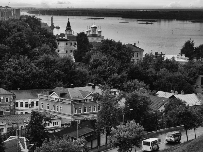 Nizhniy Novgorod, Russia, Black and white, Monochrome, Province, Region Nizhniy Novgorod. Upper viewphoto preview