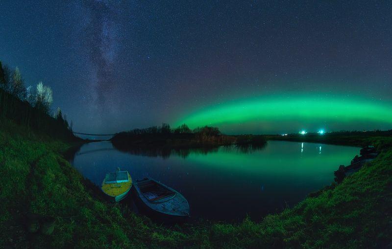 северное сияние, звезды, млечный путь, ночь, река, лодка, верхняя тойма,  Aurora Borealis, stars, milky way, night, river, boat Путь к звездамphoto preview