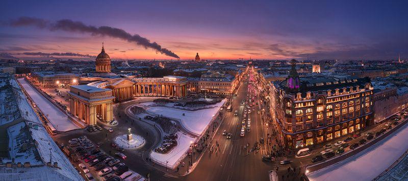 санкт-петербург, невский, проспект, закат, панорама, казанский собор Перспектива Невского проспектаphoto preview
