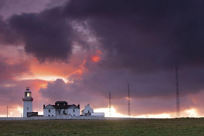 рассвет, маяк, ирландия, пейзаж, утро, облака, ireland, sunrise, landscape, lighthouse, clouds photo preview